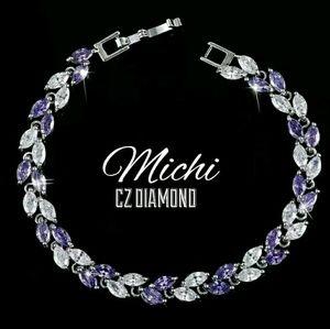 CZ DIAMOND Amathist Tennis Bracelet 7.087 inches